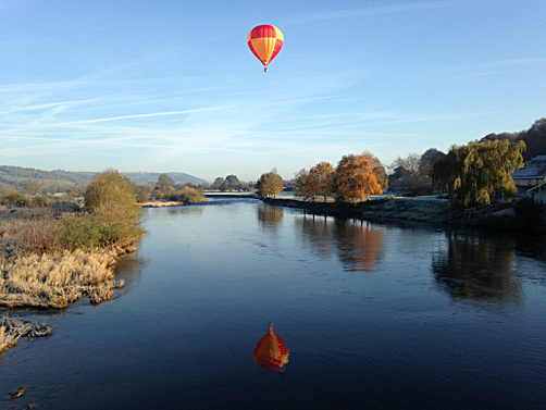 Balloon over the River Wye at Glasbury